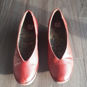 Fly London Red Wedge Shoe - 8 size